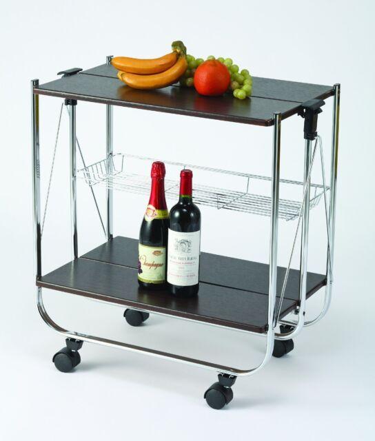 FOLDING SERVING TROLLEY-STORAGE BASKET-DINING/BAR-Chromed tubes & basket BR079WN