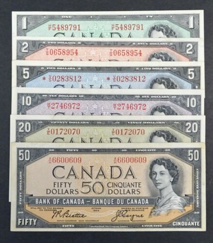 1954 Set of 6 Canadian  Banknotes, $ 1 - $50, Modified Notes, Great Condition