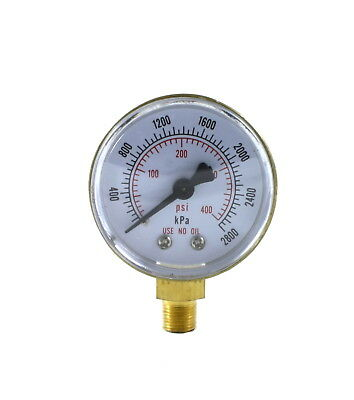 High Pressure Gauge For Acetylene Regulator 0-400 Psi 2 Inches - 18 Npt Thread