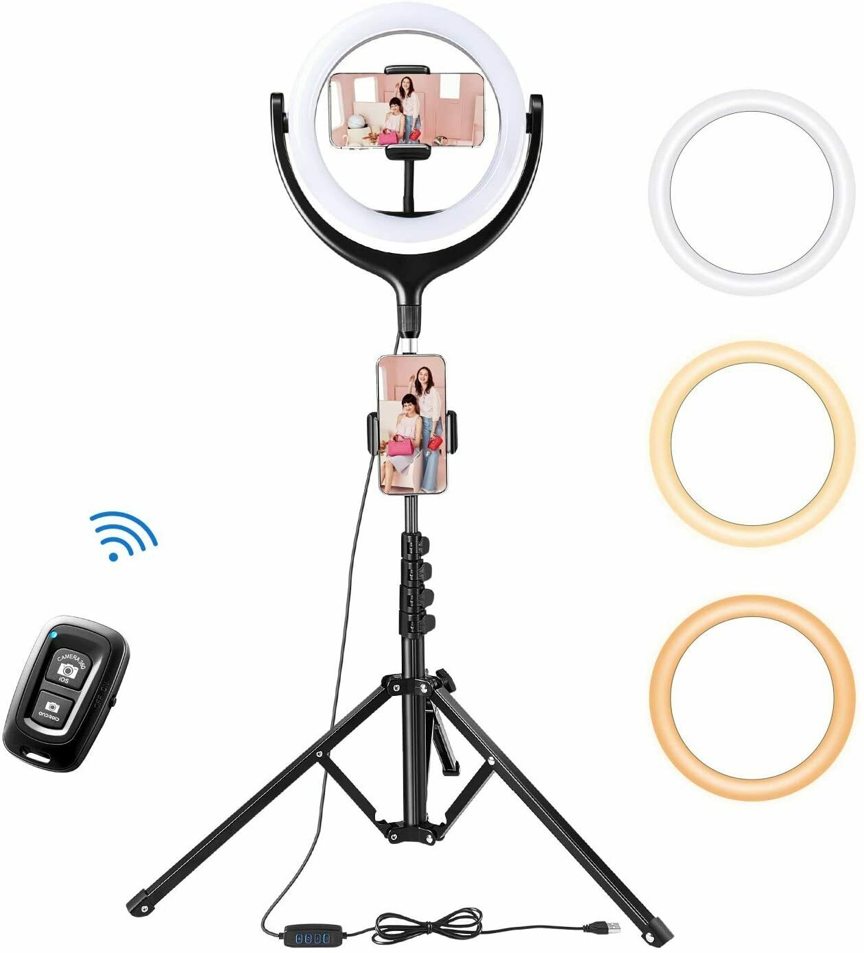 TaoTronics 10 Selfie Ring Light With 61 Tripod Stand 2 Phone Holders And Blue - $37.99