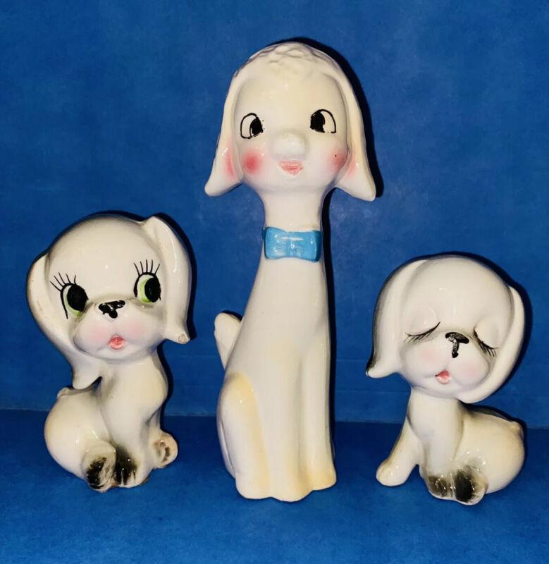 Ceramic Figurines - 2 x Puppy Dog Set & Bow Tie Lamb - Vintage Kitsch Retro