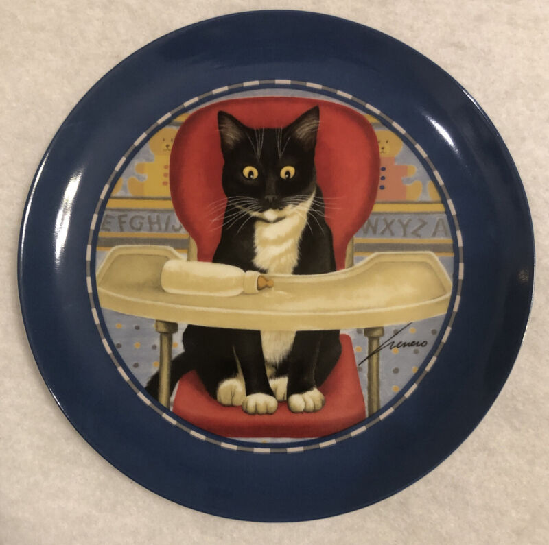 "Vintage 1992 LOWELL HERRERO ""VANDOR"" JAPAN 7-3/4"" CAT PLATE ""High Chair CAT"""