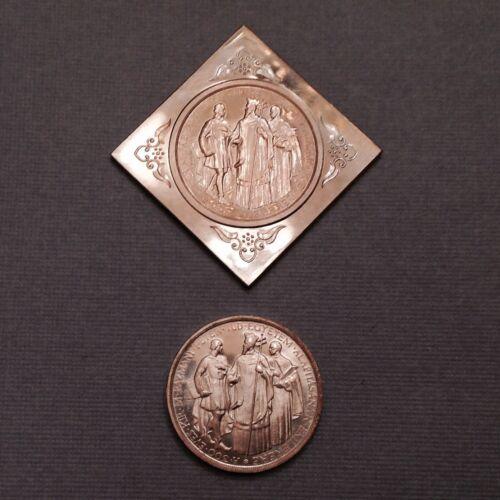 - 1935 Hungary 2 Pengo ARTEX Proof Restrike Round & Klippe Set of 2 - Pazmany