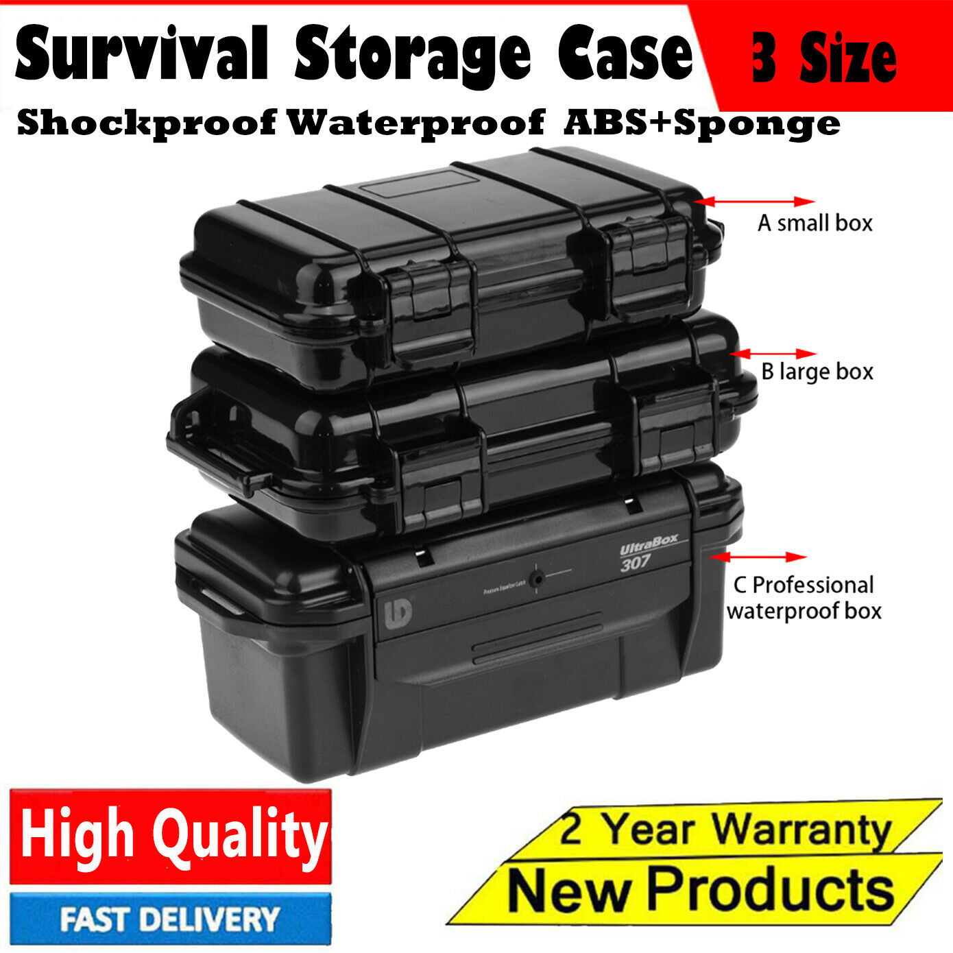 Portable Outdoor Shockproof Airtight Survival Tool Storage Case Container Box