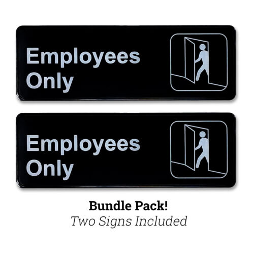 """Employees Only 3"""" H x 9"""" W Plastic Business Policy Sign Self Adhesive Back Black"""