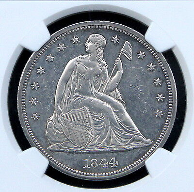 1844 SEATED LIBERTY DOLLAR $1 NGC UNC DETAILS - UNCIRCULATED MS BU - !!!