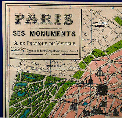 VINTAGE MAP OF PARIS POSTER PRINT FRANCE FRENCH EIFFEL TOWER CHAMPS ELYSEES  Eiffel Tower Paris Map