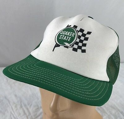 Snapback Trucker Cap Green White Mesh Racing USA 2 Color (Quaker Hat)
