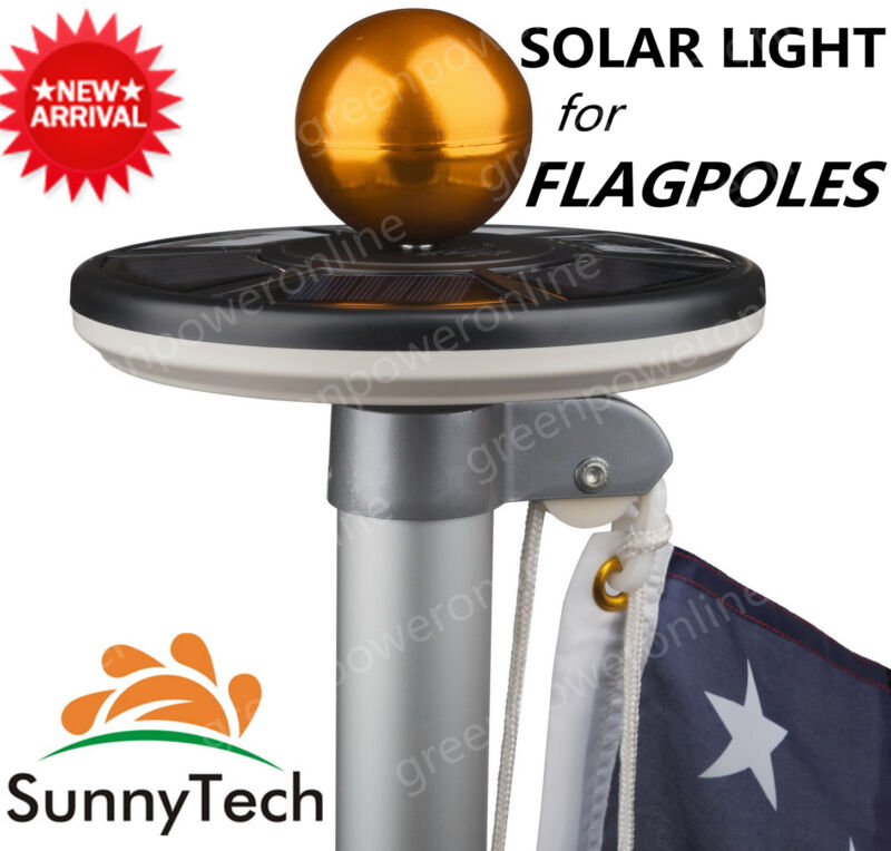 Sunnytech 2015 New Generation-BLACK Solar Flag Pole Flagpole 20LED Light-Camping