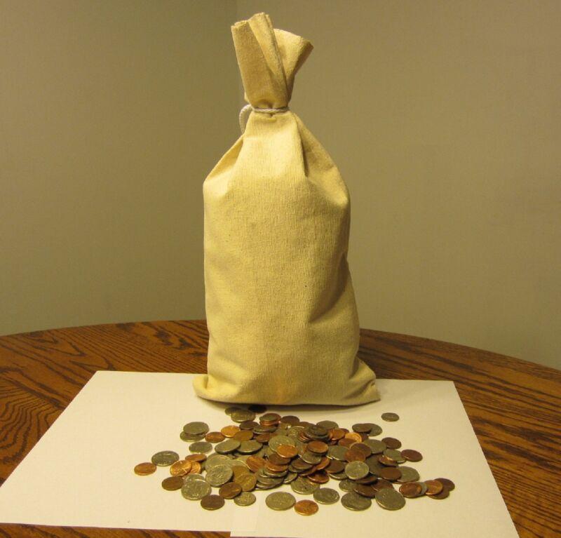 "10 CANVAS COIN BAGS  MONEY CHANGE SACK BAG  9"" BY 17.5""  BANK DEPOSIT TRANSIT"
