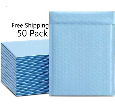 Light Blue Bubble Mailers 50 Pack Ice Blue Envelopes Padded Protective Bags 4x8