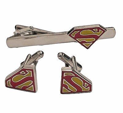SUPERMAN LOGO Enamel/Silvertone CUFFLINKS