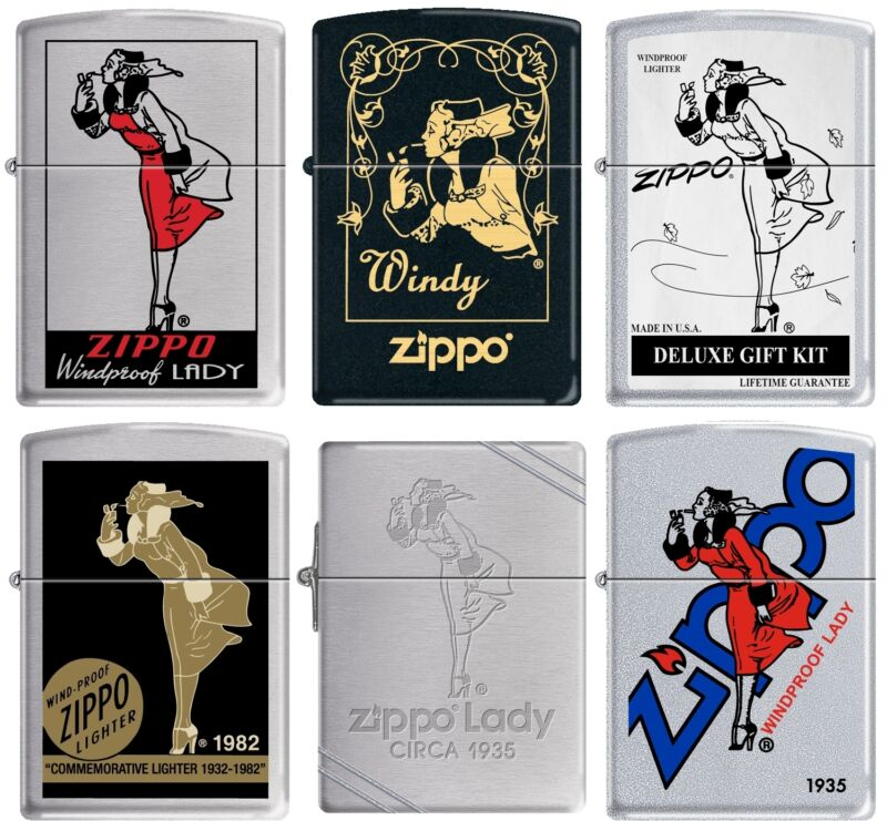 Zippo Windy Girl 6 Six Lighter Set Pin Up Pinup RARE set #2 NEW L@@K
