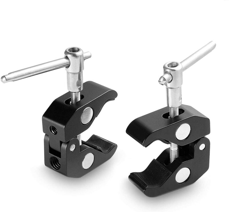 """SmallRig 2Pack Super Clamp w/ 1/4""""-20 and 3/8""""-16 Thread Crab Clamp for Cameras"""