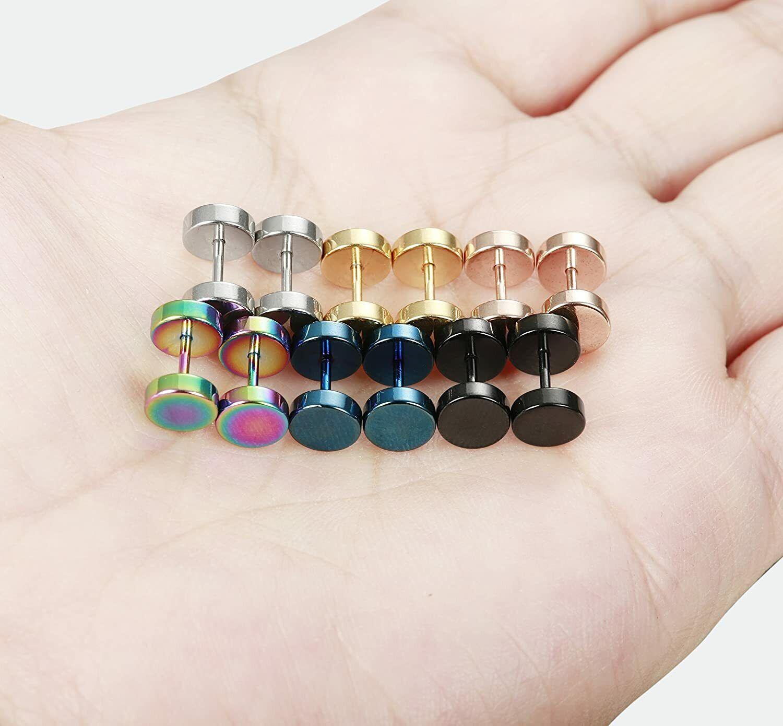 2pcs Stainless Steel Fake Plugs Cheater Illusion Ear Gauges Tunnel Stud Earrings Earrings, Studs