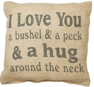 """I LOVE YOU A BUSHEL AND A PECK Small Burlap Throw Pillow, 8"""" x 8"""", Country House"""