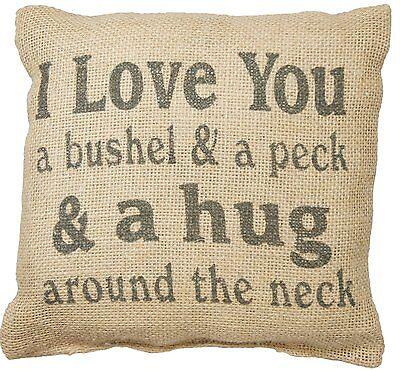 "Country House Collection 8"" x 8"" Mini Burlap Pillow ""Bushel"