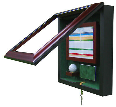 HOLE IN ONE GOLF DISPLAY CASE - MAH/GREEN - UNIQUE GIFT - FREE SHIPPING!