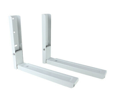White Microwave / Kitchen Wall Mount Shelf Bracket - Adjustable Arms Up To 480mm