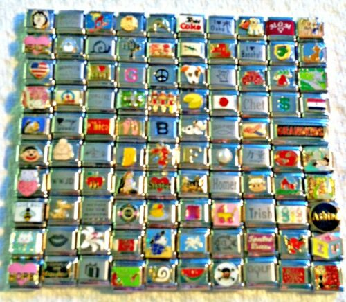 100 Piece ITALIAN  CHARMS 9mm lot # 393 No duplicates -FREE SHIPPING