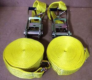 TWO-New-2-x-27-10-000lb-Ratchet-Straps-J-Hook-Ratcheting-Tie-Down-HEAVY-DUTY