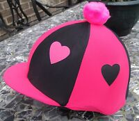Lycra Riding Hat Silk Skull Cap Cover Hot Pink & Black Hearts With Or W/o Pompom - affordable horseware - ebay.co.uk
