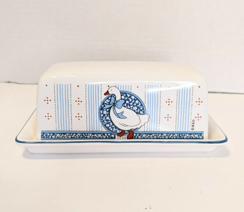 Vintage B&D Ceramic Stick Butter Goose Covered Dish Blue Country Farmhouse