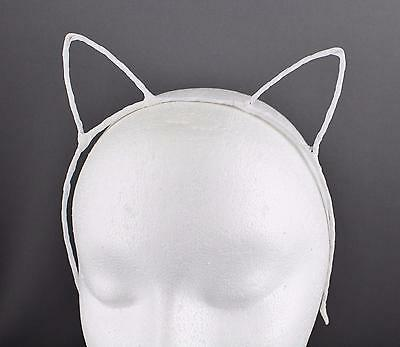 White ribbon wrapped cat kitten ears headband hair band accessory kawaii cosplay](White Cat Ears)
