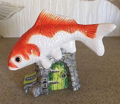 JOHN BESWICK FISH GOLDFISH MODEL No JBDP3 ORANGE & WHITE GLOSS NEW & BOXED