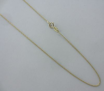 (Real 14k Gold Thin Rolo Chain.16,18,20,22,24 Inch 1mm Solid Yellow Gold Necklace)