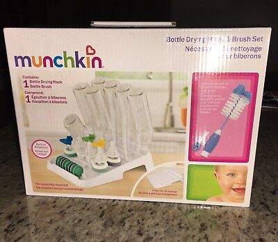 Munchkin Deluxe Bottle Drying Rack Folds Flat For Dishwashers And Easy Storage