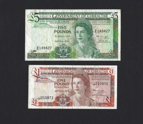 GIBRALTAR 1 Pound & 5 Pounds 1975 Picks 20a & 21a, Circulated Pair 1st Date QEII