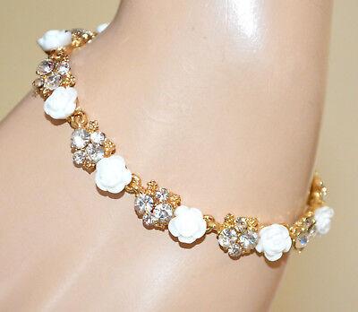 PULSERA mujer blanco oro cristales transparente brazalete pulseira bracelet BB2