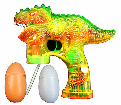 DINOSAUR Bubble Gun Blower Blaster with Flashing LED Lights & Music 2 Refill - Dinosaur Bubble Gun