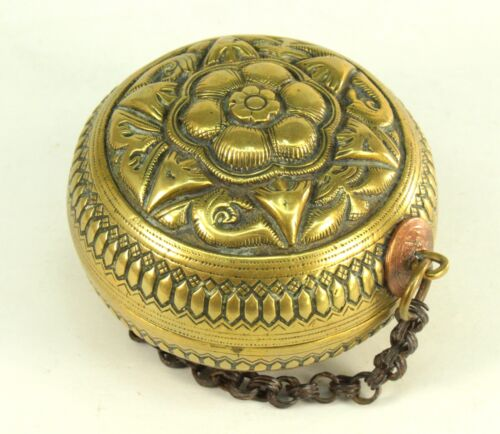 !Antique c.1856 Balinese Bronze Betel Nut Lime Container Dutch East Indies