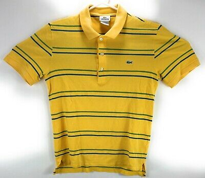 LACOSTE Mens Yellow Striped Polo Shirt Crocodile sz 2