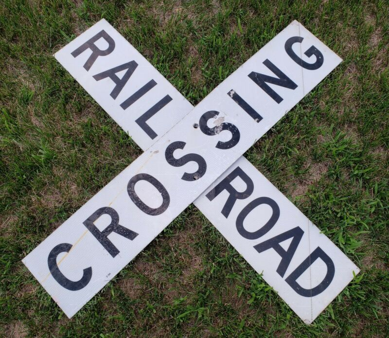 "RARE ORIGINAL VINTAGE 48"" REFLECTIVE RR RAILROAD CROSSING Sign Double Sided"