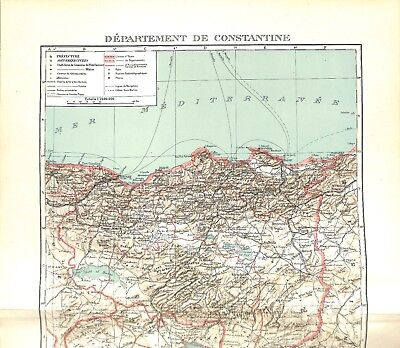 Colonial Empire French Department of Constantine Algeria Map Card Atlas 1937