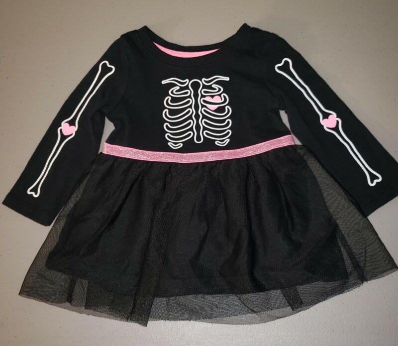 Cat & Jack Halloween Skeleton Dress Pink & Black Costume Glows EUC Shirt Outfit