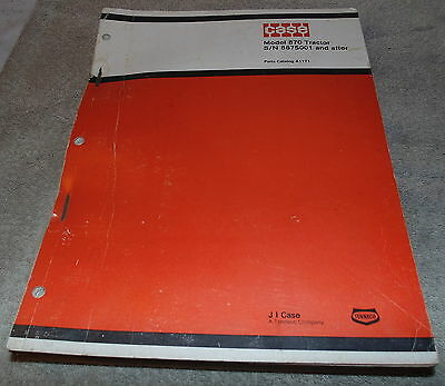 Case Model 870 Tractor Parts Catalog No. A1171 Sn 8675001 And After X