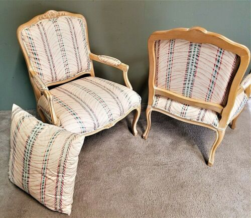 2) CHATEAU DAX Country French Provincial Tropical Carved Wood Fauteuil Armchairs