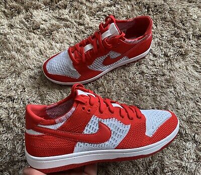 Nike Dunk Low Flyknit Red White Mens Trainers Size Uk 6 Eu 40 New Dead stock 🔥