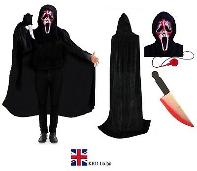 Mens SCREAM COSTUME WITH BLOOD Demon Ghost Face Killer Halloween Fancy Dress UK ()