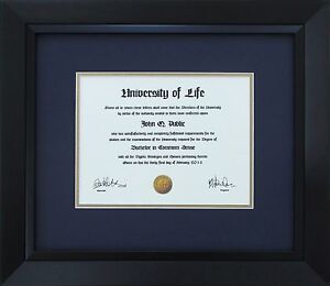Black Wood Frame With Mats Amp Glass For 11x17 Quot Diploma