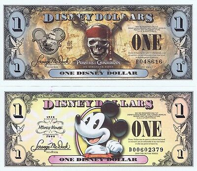 WDW 2009 $5 D Series Uncirculated Crisp Disney Dollar Minnie /& Daisy Dollars