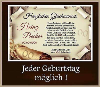 Urkunde zum Geburtstag - Individuell 18 20 30 40 50 60 70 JEDER GEBURTSTAG Mögl. 70