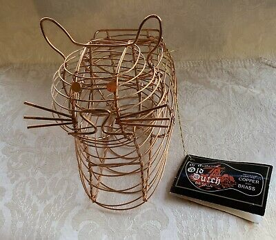 NEW Old Dutch International Wire Basket Copper Brass Cat Gift Egg Decorative Old Dutch International Decor