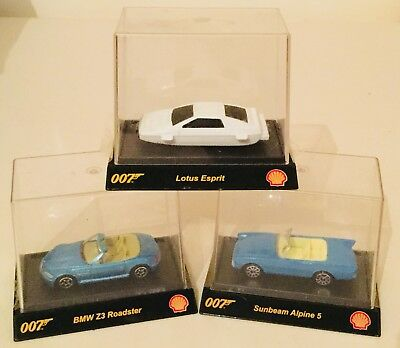 JAMES BOND 007 SHELL DIECAST CAR MODELS - LOTUS ESPRIT BMW Z3 SUNBEAM ALPINE 5 for sale  Shipping to South Africa
