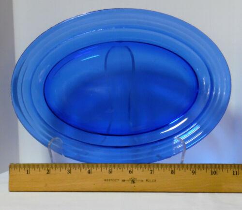 """HAZEL ATLAS MODERNTONE OVAL PLATTER COBALT BLUE 11"""""""