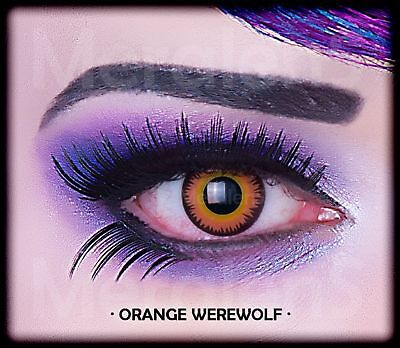 Fun Kontaktlinsen Orange Werewolf Werwolf Jahreslinsen Hydrogel Auge - Orange Kontaktlinsen